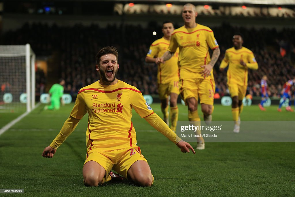 Adam Lallana of Liverpool celebrates scoring the winning goal during the FA Cup fifth round match between Crystal Palace and Liverpool at Selhurst Park on February 14, 2015 in London, England.