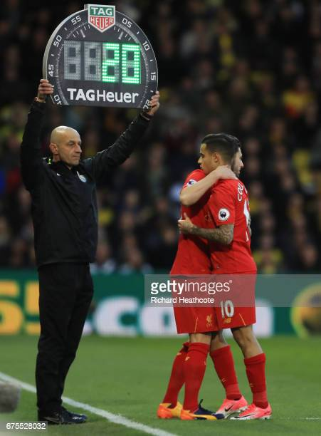 Adam Lallana of Liverpool comes on as a first half substitute for the injured Philippe Coutinho of Liverpool during the Premier League match between...