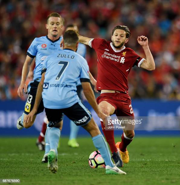Adam Lallana of Liverpool competes with Michael Zullo of Sydney FC during the International Friendly match between Sydney FC and Liverpool FC at ANZ...