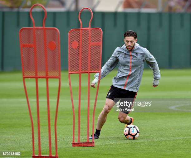 Adam Lallana of Liverpool during a training session at Melwood Training Ground on April 19 2017 in Liverpool England