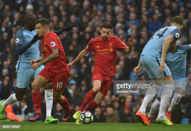 Adam Lallana of Liverpool during the Premier League match between Manchester City and Liverpool at Etihad Stadium on March 19 2017 in Manchester...