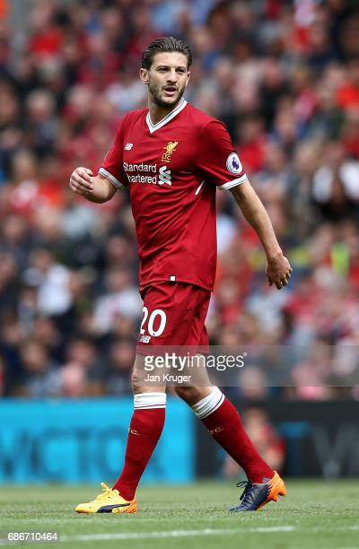 Adam Lallana of Liverpool during the Premier League match between Liverpool and Middlesbrough at Anfield on May 21 2017 in Liverpool England