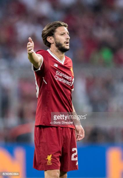 Adam Lallana of Liverpool FC gestures during the Audi Cup 2017 match between Liverpool FC and Atletico Madrid at Allianz Arena on August 2 2017 in...