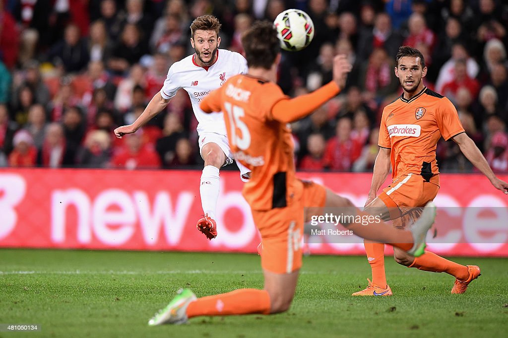 <a gi-track='captionPersonalityLinkClicked' href=/galleries/search?phrase=Adam+Lallana&family=editorial&specificpeople=5475862 ng-click='$event.stopPropagation()'>Adam Lallana</a> of Liverpool FC kicks a goal during the international friendly match between Brisbane Roar and Liverpool FC at Suncorp Stadium on July 17, 2015 in Brisbane, Australia.