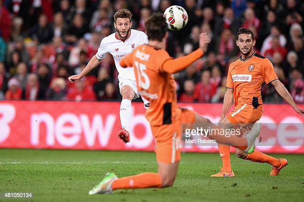 Adam Lallana of Liverpool FC kicks a goal during the international friendly match between Brisbane Roar and Liverpool FC at Suncorp Stadium on July...