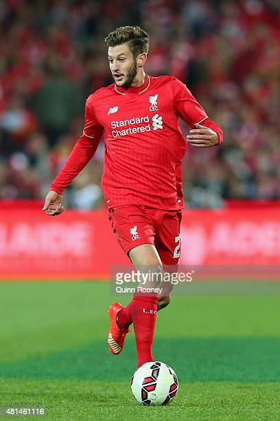 Adam Lallana of Liverpool FC looks to pass the ball during the international friendly match between Adelaide United and Liverpool FC at Adelaide Oval...