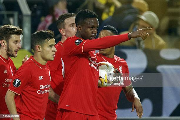 Adam Lallana of Liverpool FC Philippe Coutinho of Liverpool FC Jordan Henderson of Liverpool FC Divock Origi of Liverpool FC Nathaniel Clyne of...