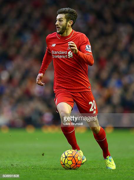 Adam Lallana of Liverpool in action during the Barclays Premier League match between Liverpool and Sunderland at Anfield on February 6 2016 in...