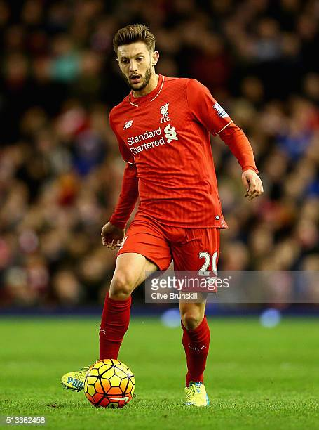Adam Lallana of Liverpool in action during the Barclays Premier League match between Liverpool and Manchester City at Anfield on March 2 2016 in...