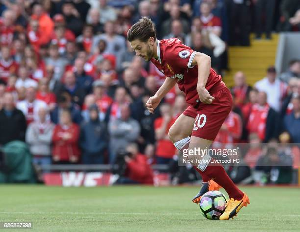 Adam Lallana of Liverpool in action during the Premier League match between Liverpool and Middlesbrough at Anfield on May 21 2017 in Liverpool England