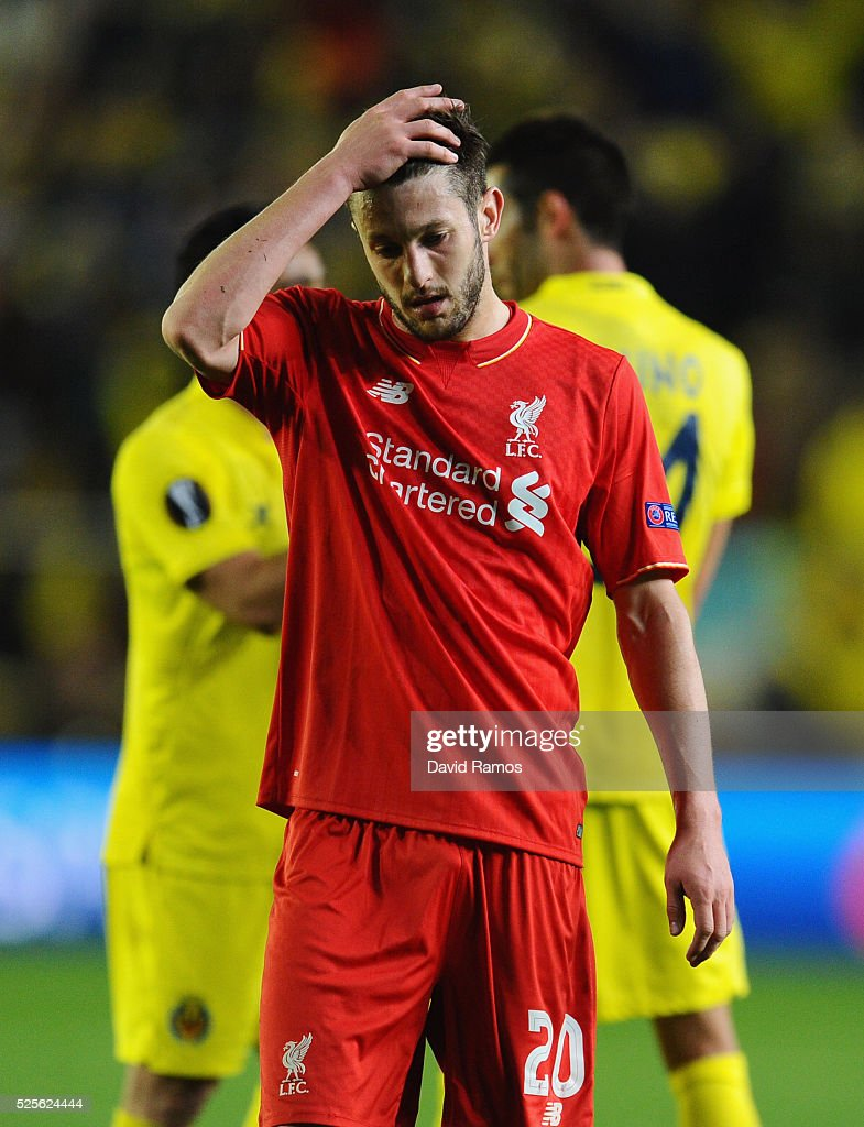 Adam Lallana of Liverpool reacts after defeat in the UEFA Europa League semi final first leg match between Villarreal CF and Liverpool at Estadio El Madrigal on April 28, 2016 in Villarreal, Spain.