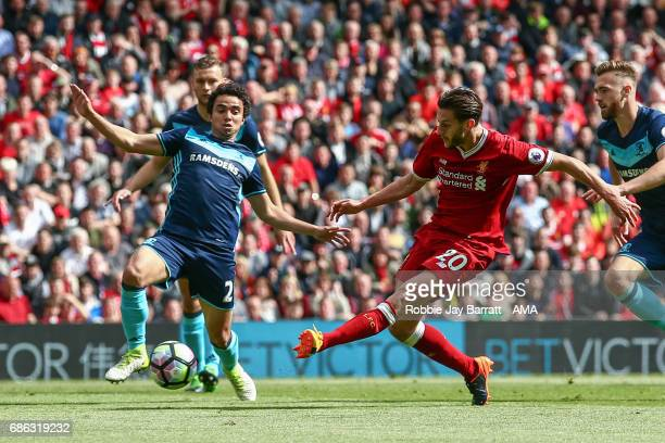 Adam Lallana of Liverpool scores a goal to make it 30 during the Premier League match between Liverpool and Middlesbrough at Anfield on May 21 2017...