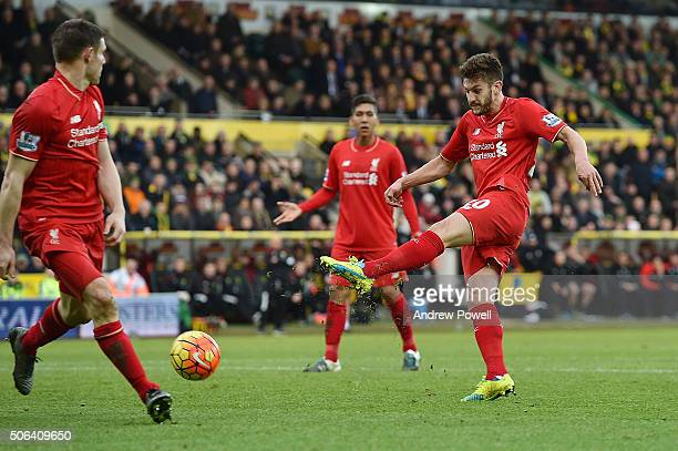 Adam Lallana of Liverpool scores the fifth goal during the Barclays Premier League match between Norwich City and Liverpool at Carrow Road on January...