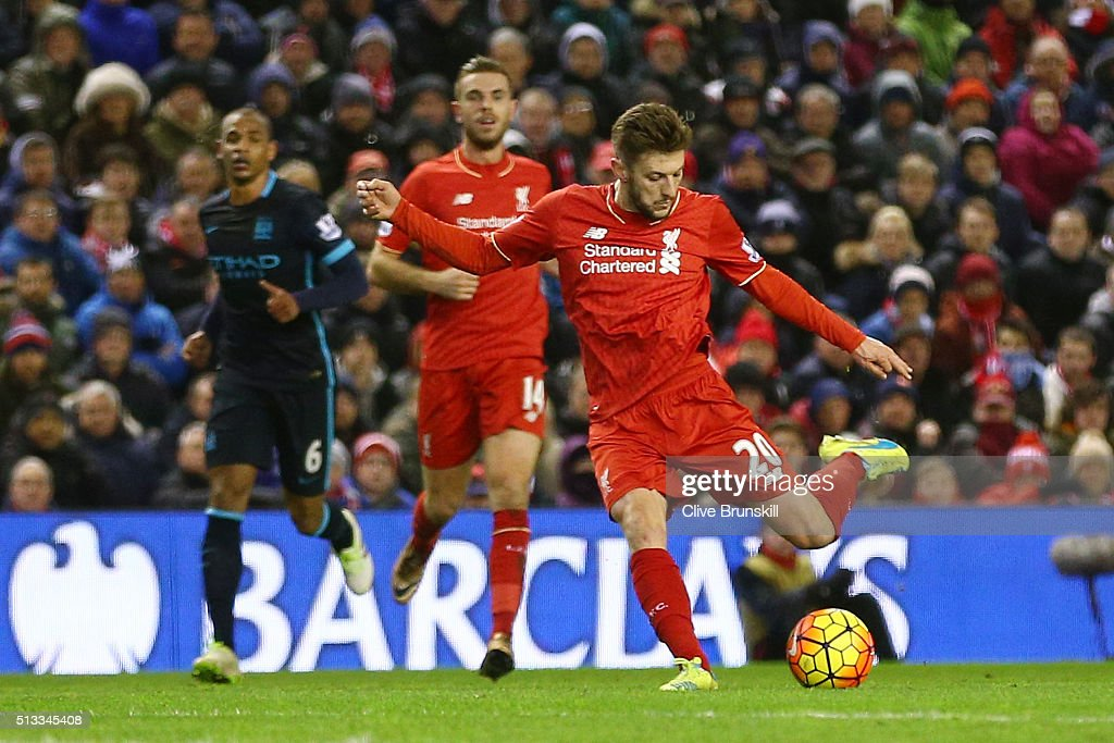 <a gi-track='captionPersonalityLinkClicked' href=/galleries/search?phrase=Adam+Lallana&family=editorial&specificpeople=5475862 ng-click='$event.stopPropagation()'>Adam Lallana</a> of Liverpool scores the opening goal during the Barclays Premier League match between Liverpool and Manchester City at Anfield on March 2, 2016 in Liverpool, England.