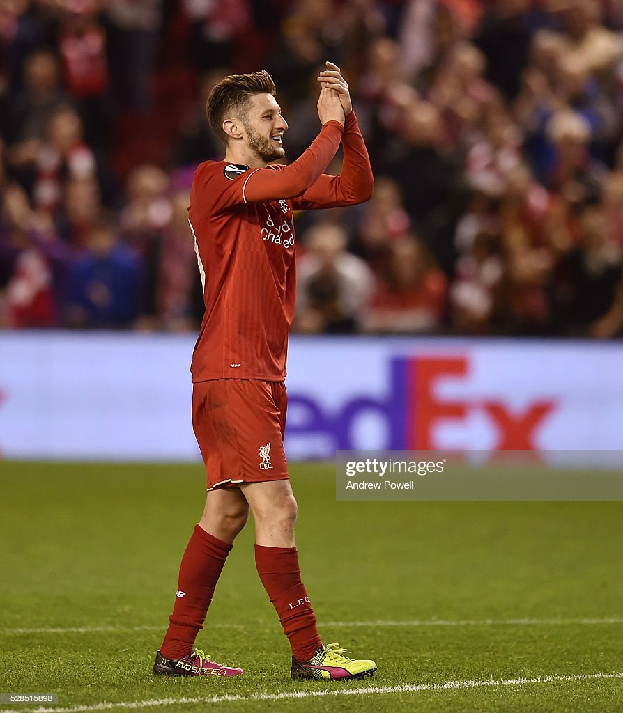 Adam Lallana of Liverpool shows his appreciation to the fans at the end of the UEFA Europa League Semi Final: Second Leg match between Liverpool and Villarreal CF at Anfield on May 05, 2016 in Liverpool, England.