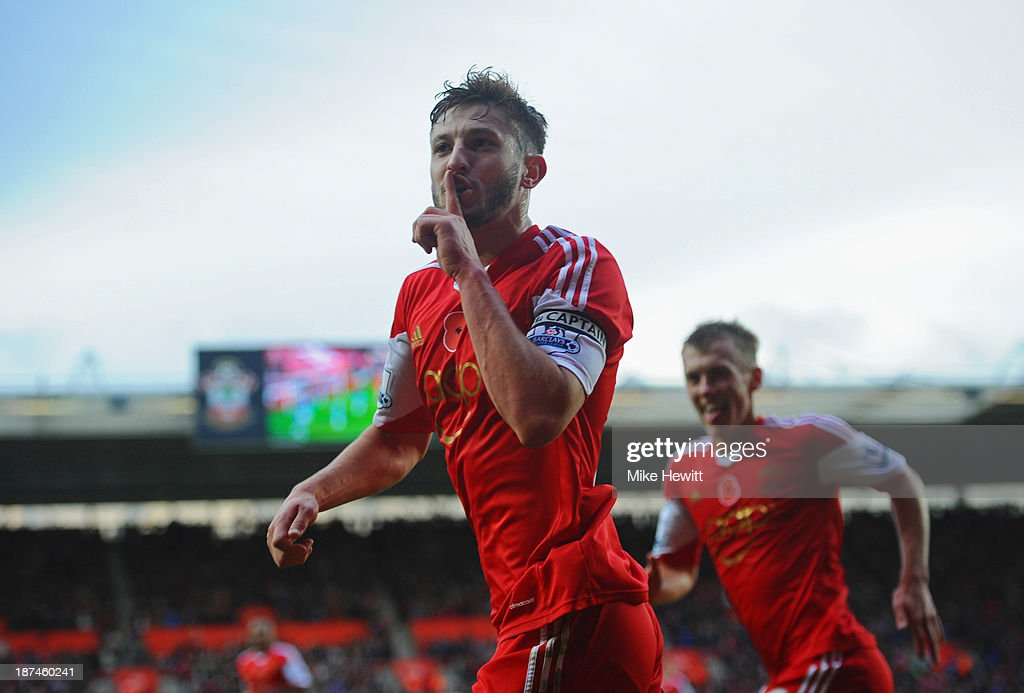 <a gi-track='captionPersonalityLinkClicked' href=/galleries/search?phrase=Adam+Lallana&family=editorial&specificpeople=5475862 ng-click='$event.stopPropagation()'>Adam Lallana</a> of Southampton celebrates as he scores their third goal during the Barclays Premier League match between Southampton and Hull City at St Mary's Stadium on November 9, 2013 in Southampton, England.