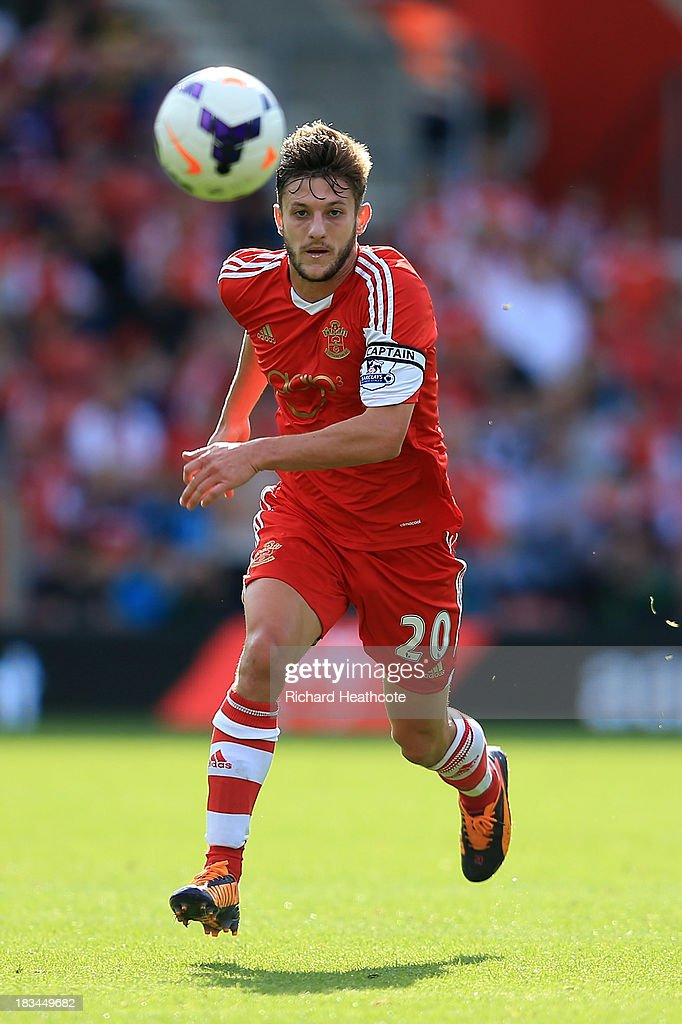 <a gi-track='captionPersonalityLinkClicked' href=/galleries/search?phrase=Adam+Lallana&family=editorial&specificpeople=5475862 ng-click='$event.stopPropagation()'>Adam Lallana</a> of Southampton in action during the Barclays Premier League match between Southampton and Swansea City at St Mary's Stadium on October 6, 2013 in Southampton, England.