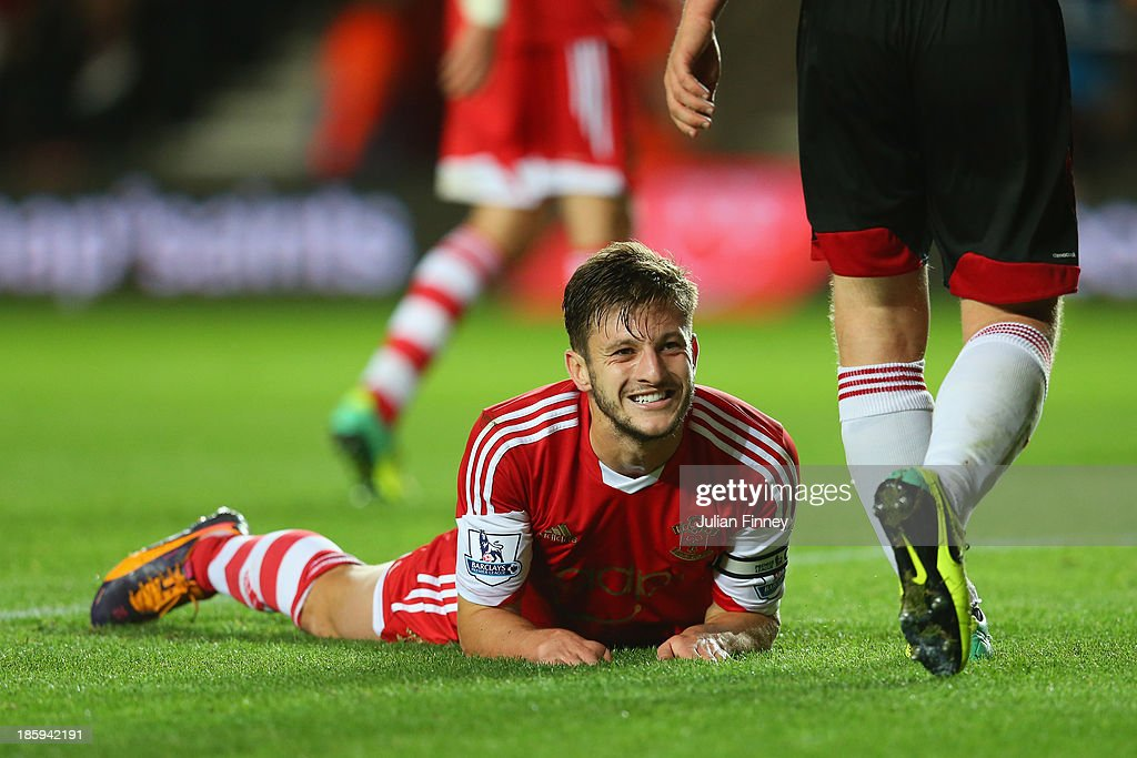<a gi-track='captionPersonalityLinkClicked' href=/galleries/search?phrase=Adam+Lallana&family=editorial&specificpeople=5475862 ng-click='$event.stopPropagation()'>Adam Lallana</a> of Southampton reacts during the Barclays Premier League match between Southampton and Fulham at St Mary's Stadium on October 26, 2013 in Southampton, England.