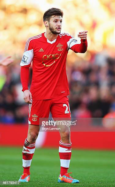 Adam Lallana of Southampton reacts during the Barclays Premier League match between Southampton and West Bromwich Albion at St Mary's Stadium on...