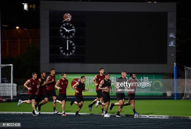 Adam Lallana Roberto Firmino Philippe Coutinho Marko Grujic Dejan Lovren Mohamed Salah James Milner and Kevin Stewart of Liverpool during a training...