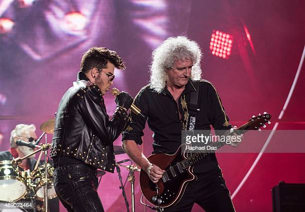 Adam Lambert and Brian May from Queen Adam Lambert performs at 2015 Rock in Rio on September 18 2015 in Rio de Janeiro Brazil