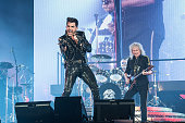 Adam Lambert and Brian May from Queen perform on January 26 2015 in Paris France