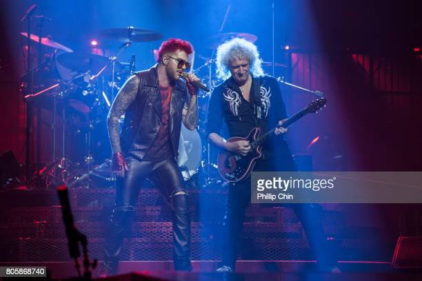 Adam Lambert and Brian May of Queen Adam Lambert perform at Pepsi Live at Rogers Arena on July 2 2017 in Vancouver Canada