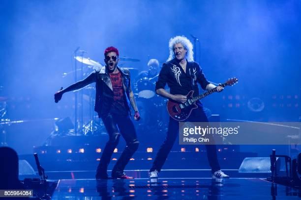 Adam Lambert and Brian May of Queen Adam Lambert perform at Pepsi Live at Rogers Arena at Pepsi Live at Rogers Arena on July 2 2017 in Vancouver...