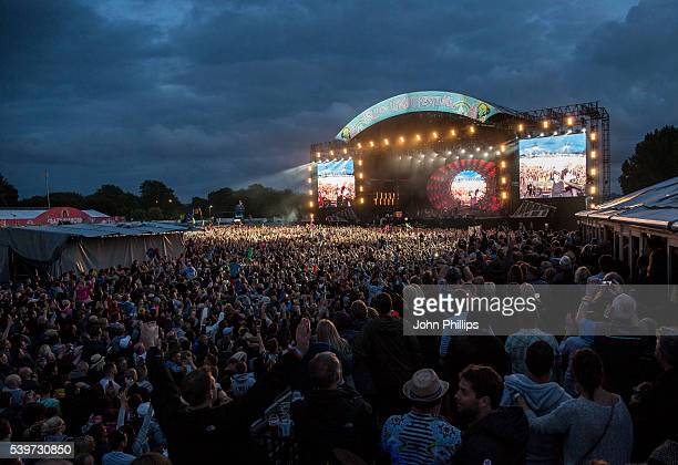 Adam Lambert and Brian May of Queen Adam Lambert perform on stage at the Isle Of Wight Festival 2016 at Seaclose Park on June 12 2016 in Newport Isle...