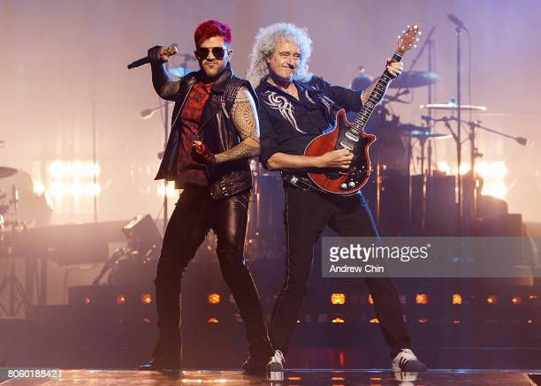 Adam Lambert and Brian May of Queen Adam Lambert performs on stage at Pepsi Live at Rogers Arena on July 2 2017 in Vancouver Canada
