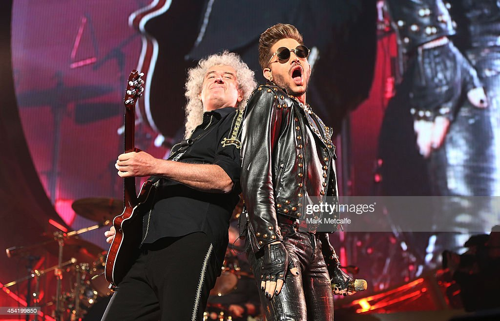 Adam Lambert and Brian May of QUEEN and Adam Lambert perform on stage during QUEEN'S first tour of Australia since 1985 at Allphones Arena on August...