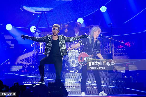 Adam Lambert and Brian May of Queen perform on the Mundo stage at Rock in Rio on May 20 2016 in Lisbon Portugal