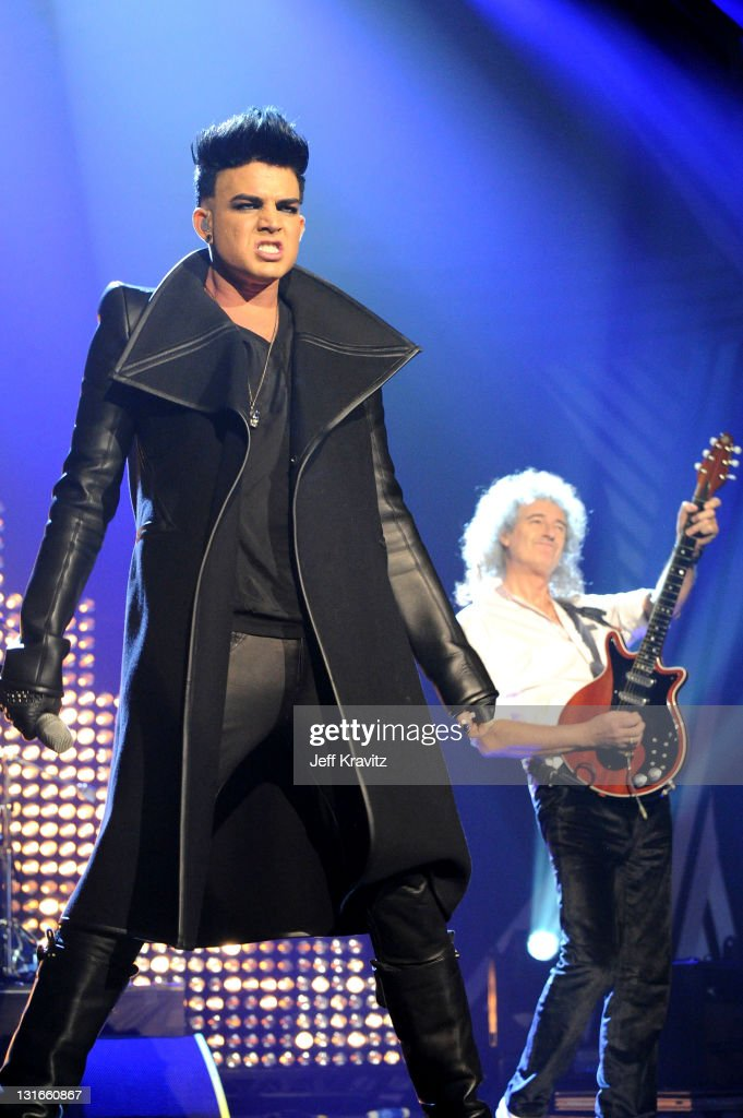 Adam Lambert and Brian May of Queen perform onstage during the MTV Europe Music Awards 2011 live show at at the Odyssey Arena on November 6 2011 in...