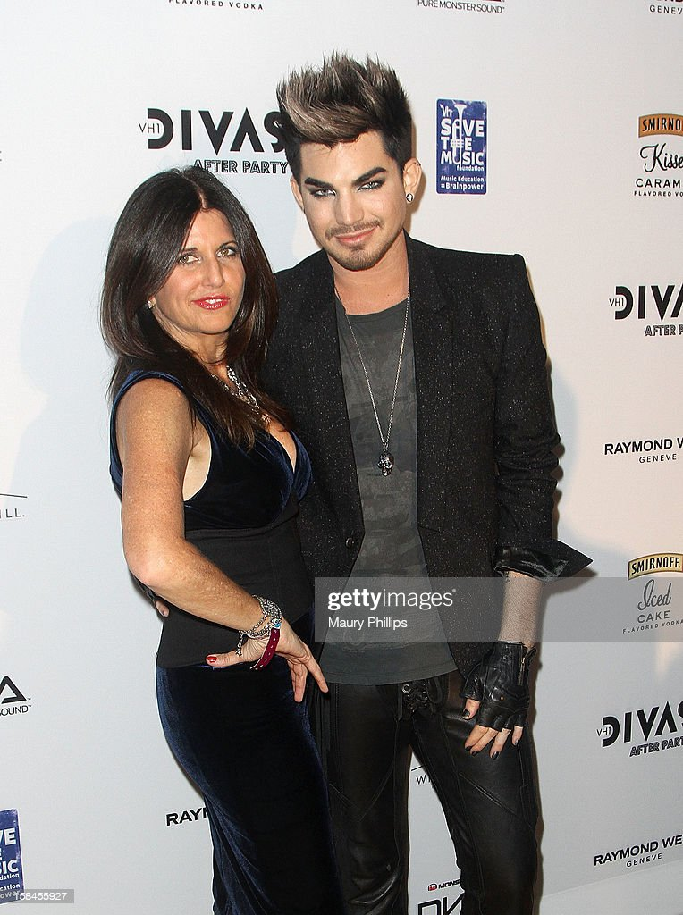 Adam Lambert (R) and mom Lelia Lambert attend the Official VH1 Divas after party to benefit VH1 Save The Music Foundation at The Shrine Expo Hall on December 16, 2012 in Los Angeles, California.