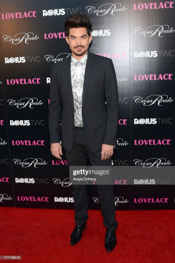 <a gi-track='captionPersonalityLinkClicked' href=/galleries/search?phrase=Adam+Lambert&family=editorial&specificpeople=5706674 ng-click='$event.stopPropagation()'>Adam Lambert</a> attends the premiere of RADiUS-TWC's 'Lovelace' at the Egyptian Theatre on August 5, 2013 in Hollywood, California.