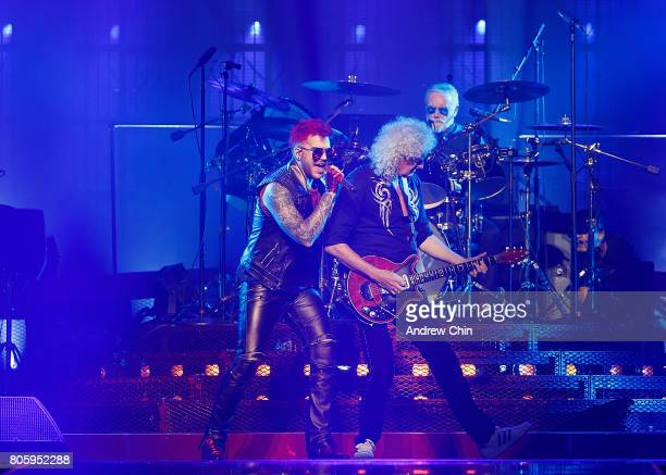 Adam Lambert Brian May and Roger Taylor of Queen Adam Lambert performs on stage at Pepsi Live at Rogers Arena on July 2 2017 in Vancouver Canada