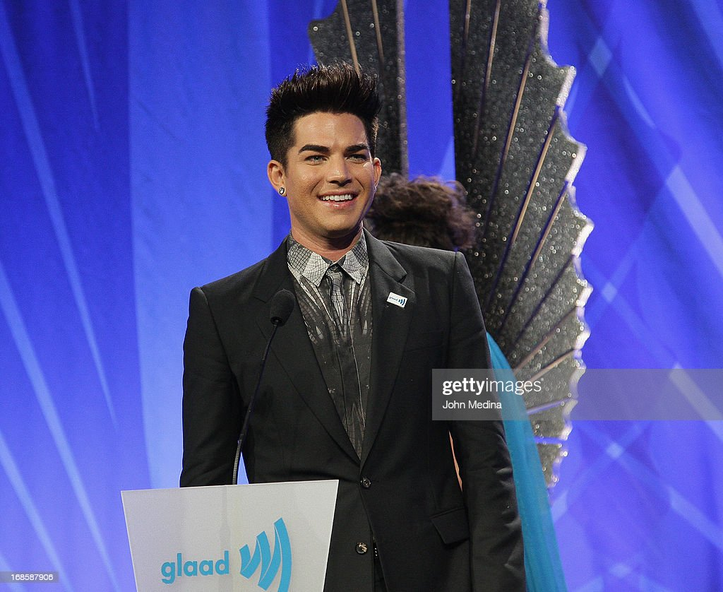 <a gi-track='captionPersonalityLinkClicked' href=/galleries/search?phrase=Adam+Lambert&family=editorial&specificpeople=5706674 ng-click='$event.stopPropagation()'>Adam Lambert</a> gives a speech after accepting the 2013 Davidson/Velentini Award for oustanding music artist during the 24th Annual GLAAD Media Awards at the Hilton San Francisco - Union Square on May 11, 2013 in San Francisco, California.