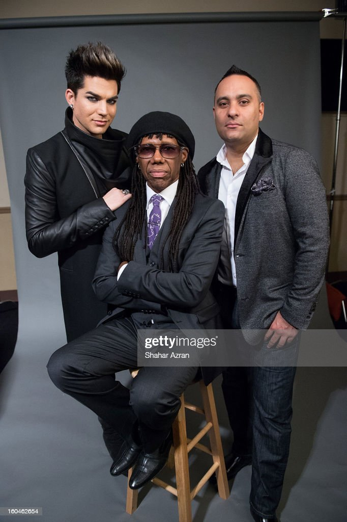 Adam Lambert, Nile Rodgers and Russell Peters attend 2013 We Are Family Foundation Gala at Hammerstein Ballroom on January 31, 2013 in New York City.