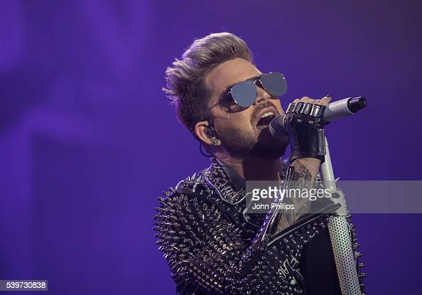 Adam Lambert of Queen Adam Lambert performs on stage at the Isle Of Wight Festival 2016 at Seaclose Park on June 12 2016 in Newport Isle of Wight