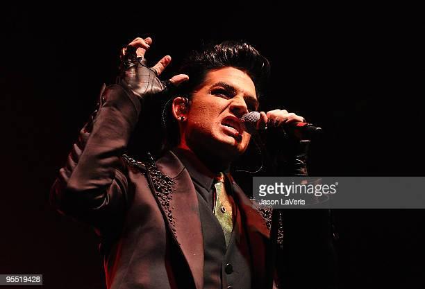 Adam Lambert performs at the Gridlock 2010 New Year's Eve bash at Paramount Studios on December 31 2009 in Hollywood California