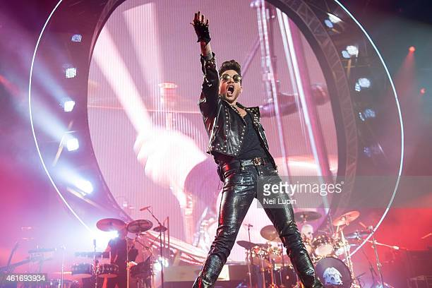 Adam Lambert performs on stage with Brian May and Roger Taylor as Queen Adam Lambert at O2 Arena on January 17 2015 in London United Kingdom