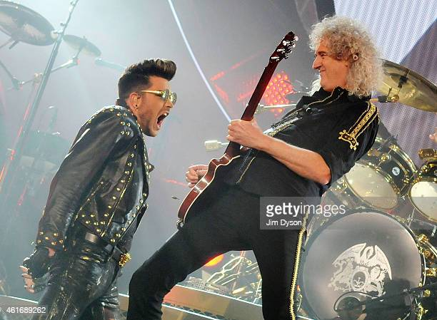 Adam Lambert performs with Brian May of Queen at 02 Arena on January 17 2015 in London England