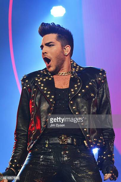 Adam Lambert performs with Queen at 02 Arena on January 17 2015 in London England