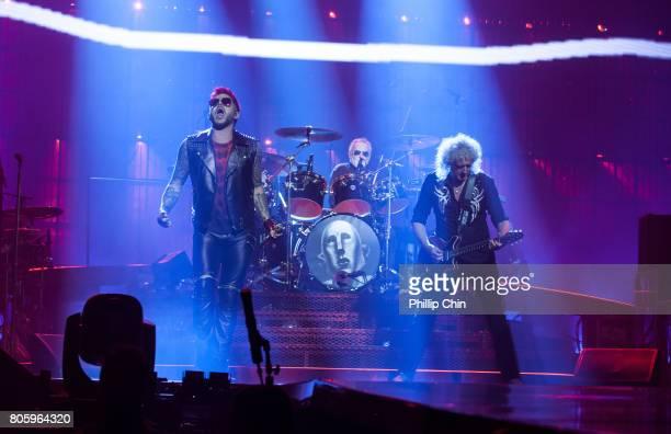 Adam Lambert Roger Taylor and Brian May of Queen Adam Lambert perform at Pepsi Live at Rogers Arena at Pepsi Live at Rogers Arena on July 2 2017 in...