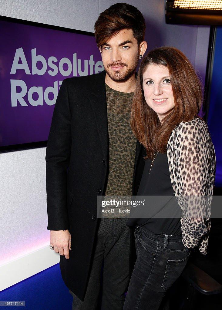 Adam Lambert visits Danielle Perry at Absolute Radio on November 18 2015 in London England