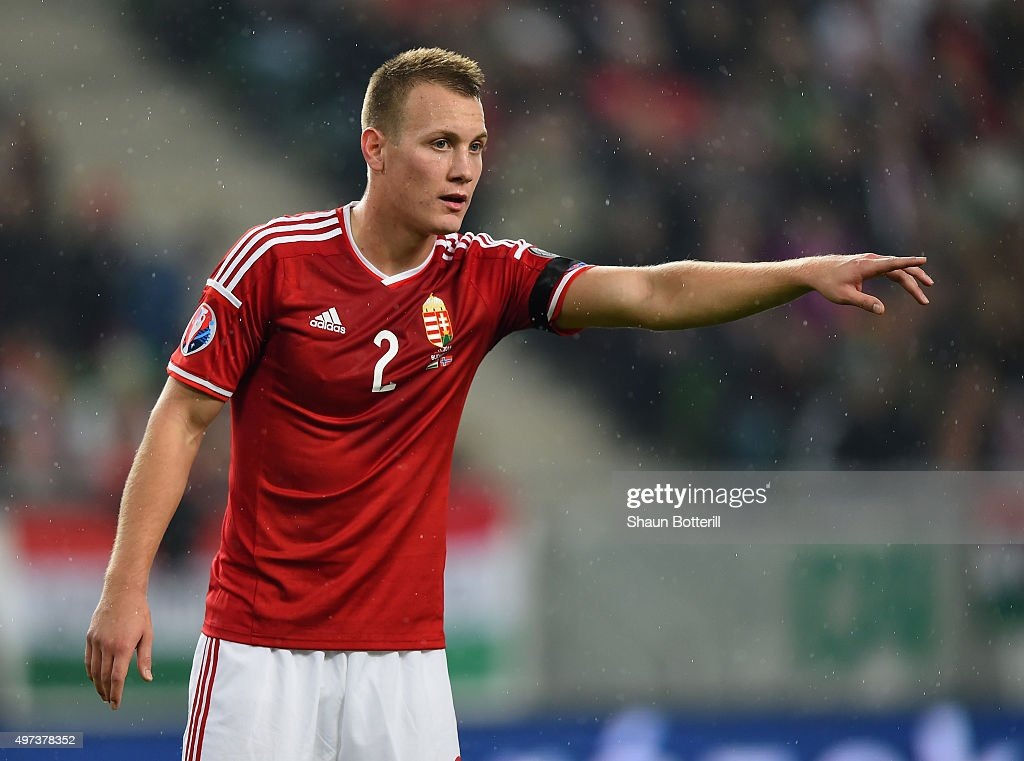 Adam Lang of Hungary during the UEFA EURO 2016 qualifier playoff second leg match between Hungary and Norway at Groupama Arena on November 15 2015 in...
