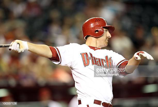 Adam LaRoche of the Arizona Diamondbacks bats against the San Francisco Giants during the Major League Baseball game at Chase Field on May 20 2010 in...