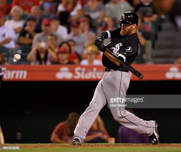 Adam LaRoche of the Chicago White Sox at bat during the fifth inning of the game against the Los Angeles Angels of Anaheim at Angel Stadium of...