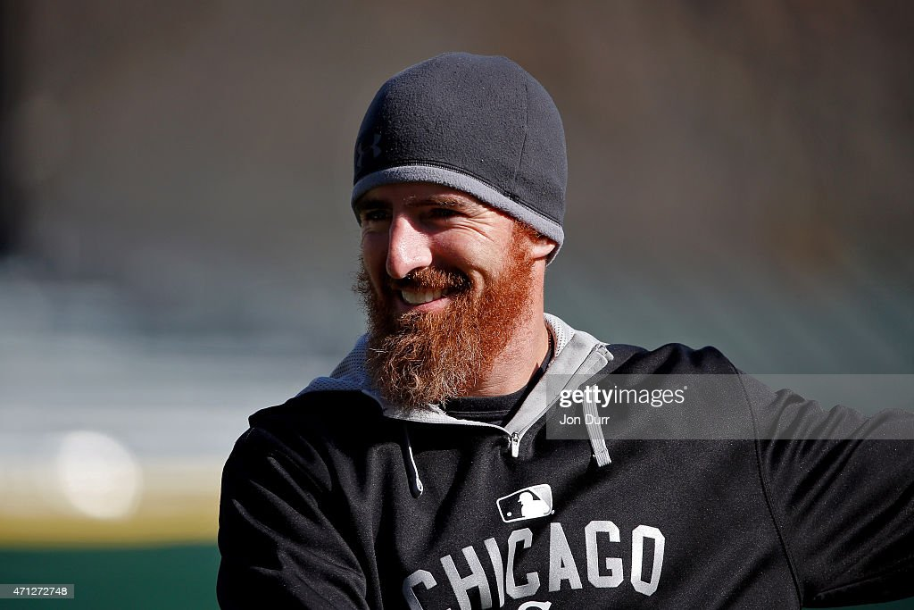 <a gi-track='captionPersonalityLinkClicked' href=/galleries/search?phrase=Adam+LaRoche&family=editorial&specificpeople=216533 ng-click='$event.stopPropagation()'>Adam LaRoche</a> #25 of the Chicago White Sox before the game against the Kansas City Royals on April 23, 2015 at U.S. Cellular Field in Chicago, Illinois.