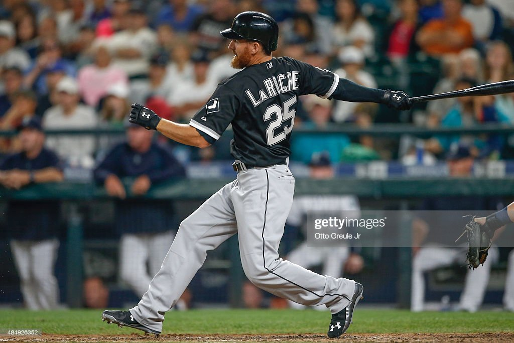 <a gi-track='captionPersonalityLinkClicked' href=/galleries/search?phrase=Adam+LaRoche&family=editorial&specificpeople=216533 ng-click='$event.stopPropagation()'>Adam LaRoche</a> #25 of the Chicago White Sox hits a game-tying groundout in the ninth inning against the Seattle Mariners at Safeco Field on August 22, 2015 in Seattle, Washington.